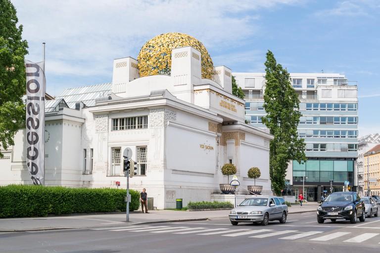 Art nouveau Secession building and traffic in Friedrichstrasse in Vienna, Austria