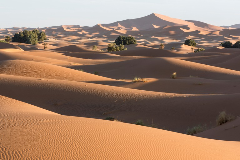 Morocco, Erg Chebbi, sand dunes in the Sahara Desert near Merzouga