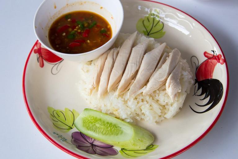 Hainan chicken rice or Khao Man Gai, Bangkok, Thailand