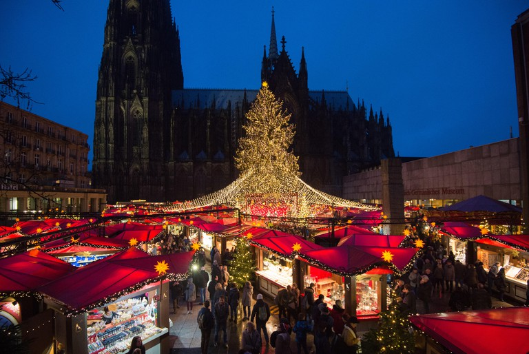 Cologne's most famous Christmas market stands in front of the city's cathedral