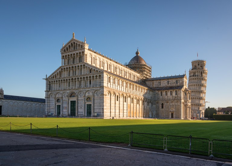 Piazza dei Miracoli (Square of Miracles), with the Cathedral and the leaning tower, Pisa.