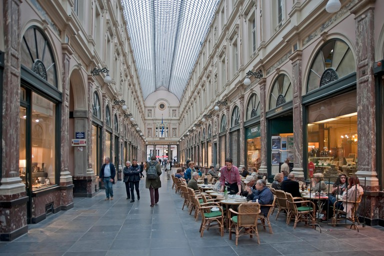 The Galeries Royales Saint-Hubert is an early example of a 19th-century covered shopping arcade