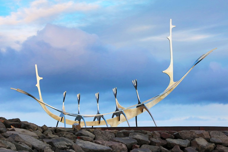 The Sun Voyager is a curving sculpture of shining steel that forms the shape of a boat
