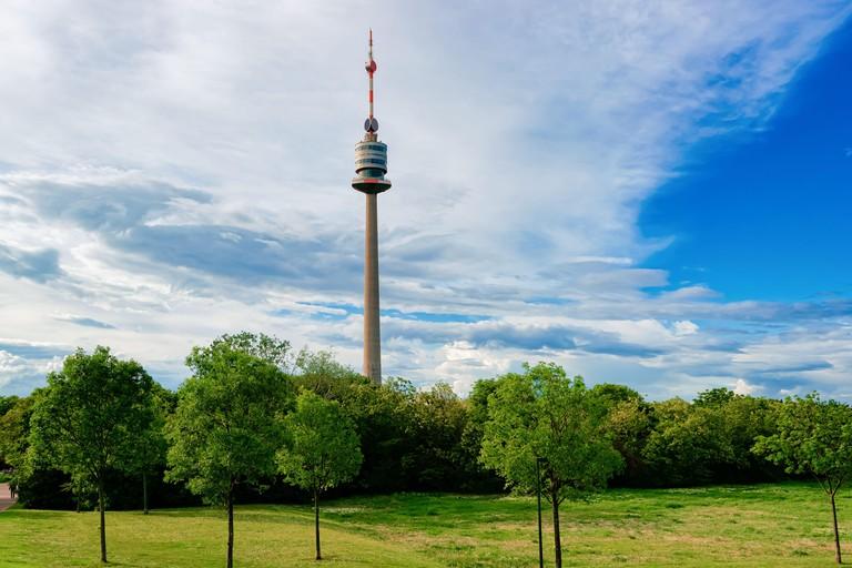 Donauturm Danube TV tower in Donaustadt in Vienna in Austria
