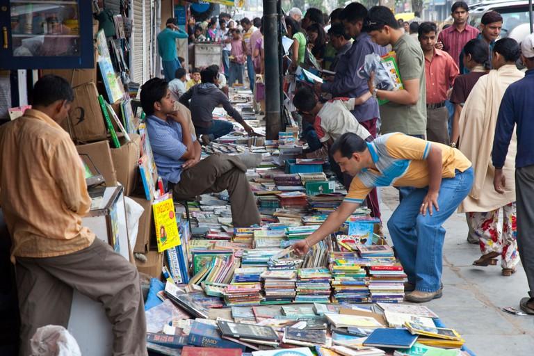 Sunday Book Bazaar in Daryaganj in Delhi India. Image shot 2009. Exact date unknown.