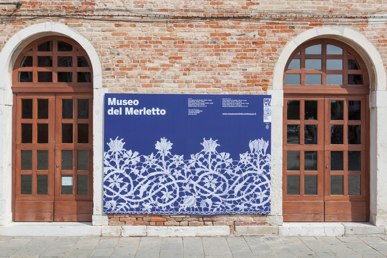 The entrance to the museum of lace in Burano, Venice, Veneto, Italy
