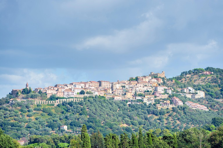 View to the town Montepulciano in Tuscany, Italy