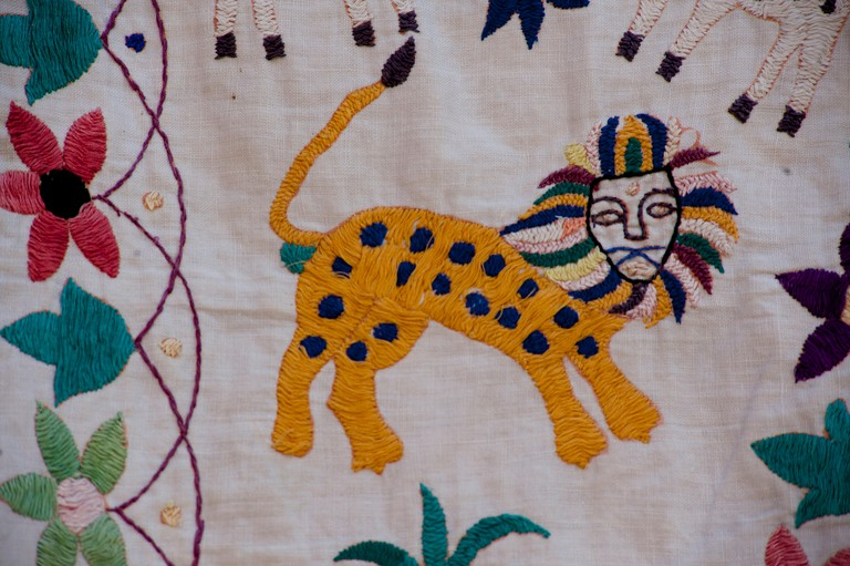 Embroidered textile depicting tigers. Rajasthan, India