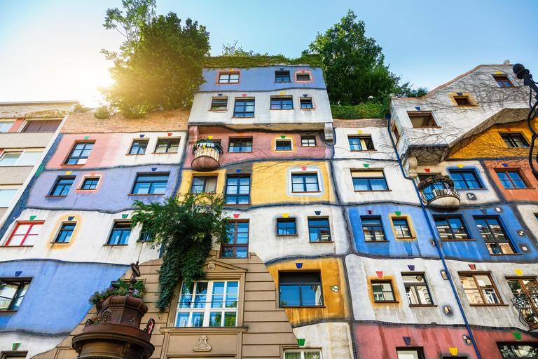 The Hundertwasser House in Vienna. Image shot 2018. Exact date unknown.
