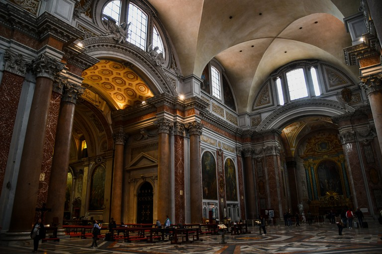 Ancient ruins in Rome (Italy) - Interior of Basilica of St. Mary of the Angels and the Martyrs (Santa Maria degli Angeli e dei Martiri), which is the site of Baths of Diocletian (Terme di Diocleziano)