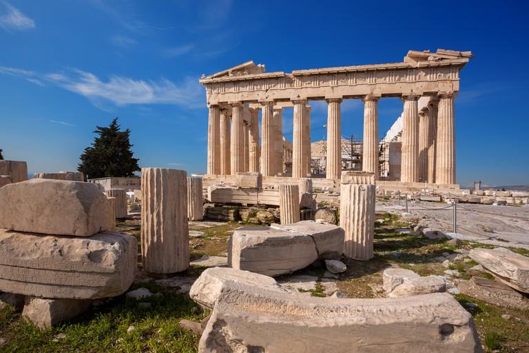 The Parthenon sits atop the Acropolis