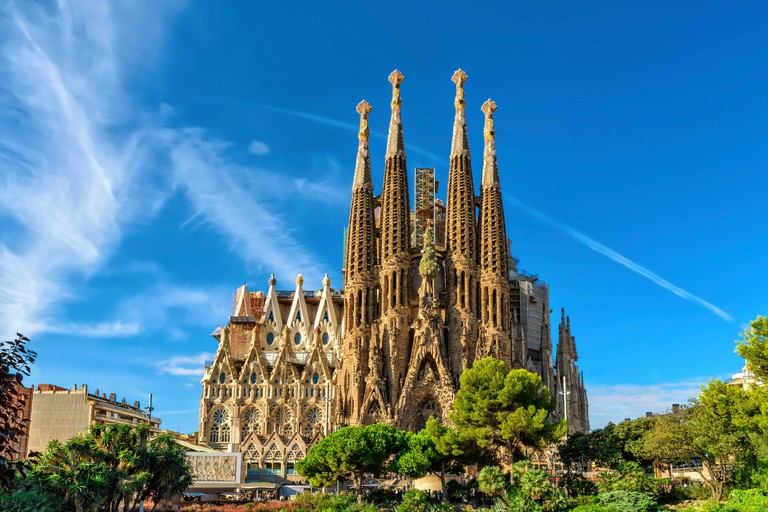 Barcelona, Spain - September 24th, 2015: Cathedral of La Sagrada Familia. It is designed by architect Antonio Gaudi and is being build since 1882.