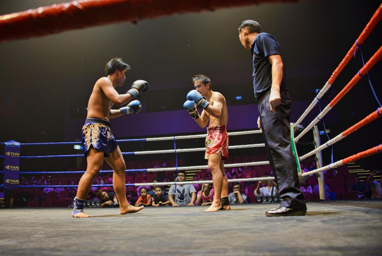 Muay Thai boxers in action, Bangkok, Thailand