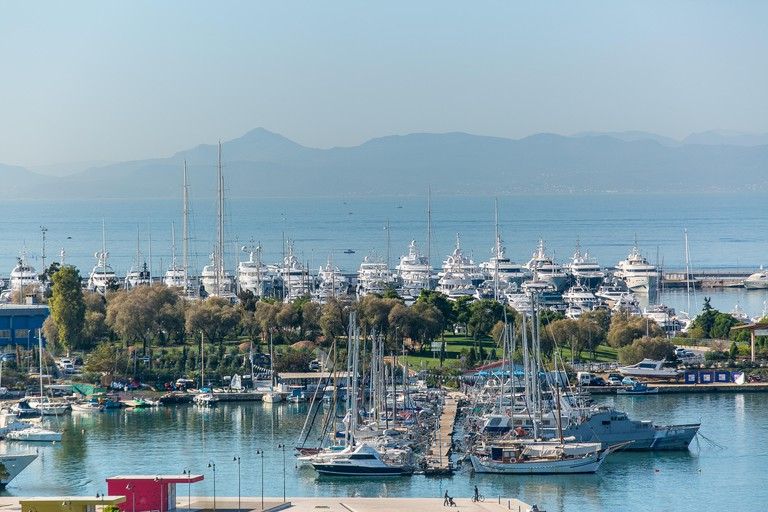 A number of luxury yachts dock at Flisvos Marina