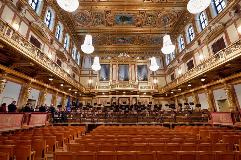 The Goldener Saal (Golden Hall) concert hall of Wiener Musikverein. Vienna Austria