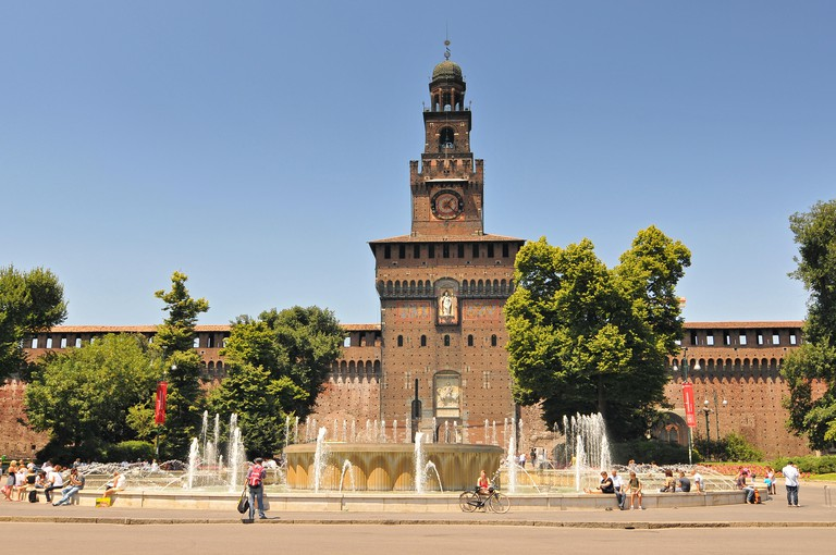 Fountain In Front Of The Entrance To Castello Sforzesco, Milan, Lombardy, Italy