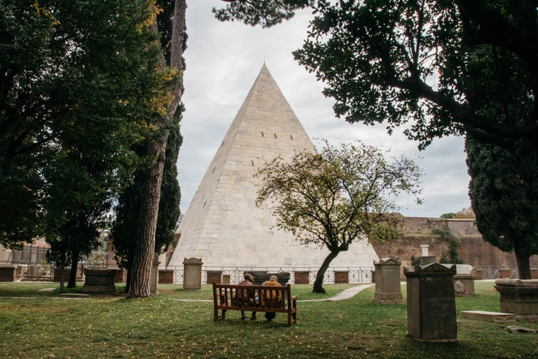 Rome-3-Rome-Italy. The Pyramid of Cestius dates backs to 12 BC