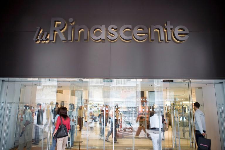 Sign La Rinascente store Corso Vittorio Emanuele  Milan Lombardy Italy
