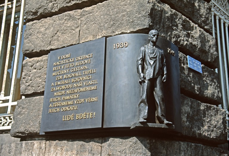 Gestapo Headquarters in Prague is memorialised with a plaque