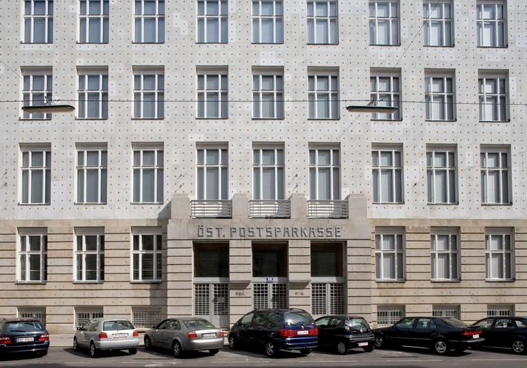 The Postsparkasse's Modernist facade is enhanced with decorative aluminium