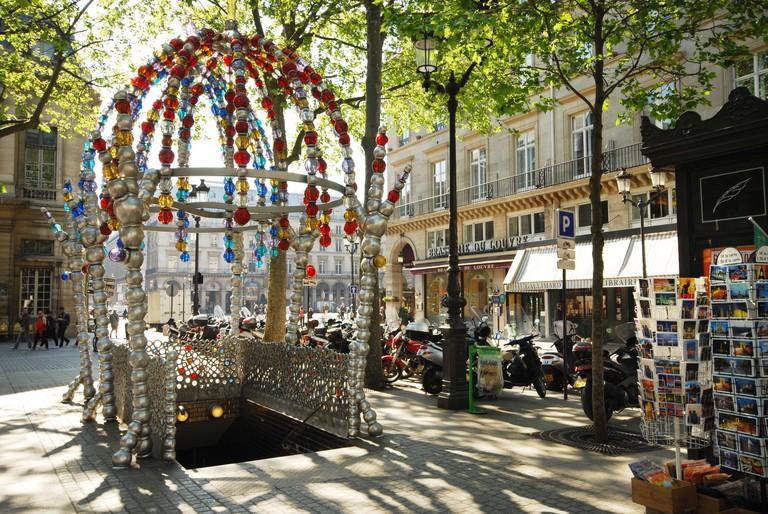 detail of Palais Royal metro entrance at Place Colette Paris France