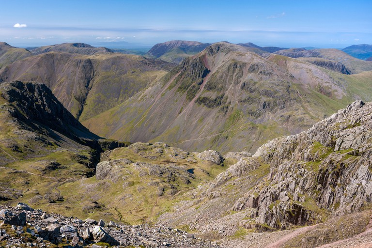 View from Scafell Pike in the Lake District National Park, Cumbria, England.