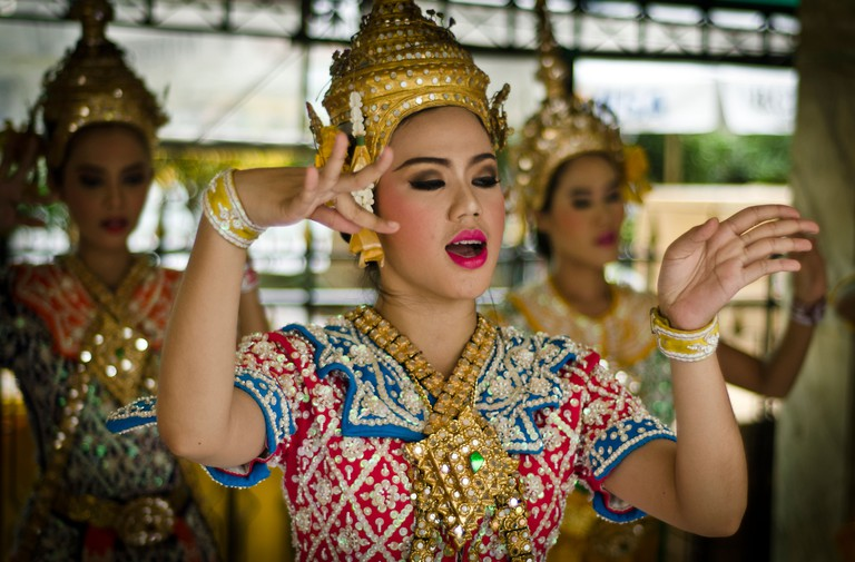 Thai traditional dance at Erawan shrine in Bangkok.