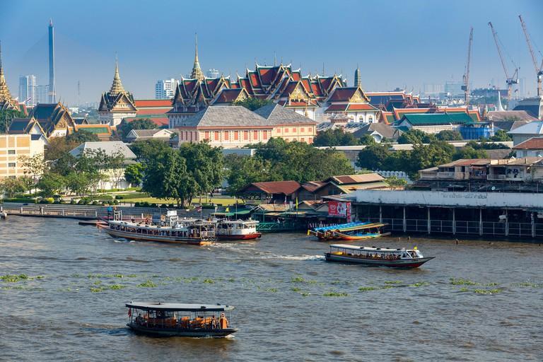 Boats on the Chao Phraya River.