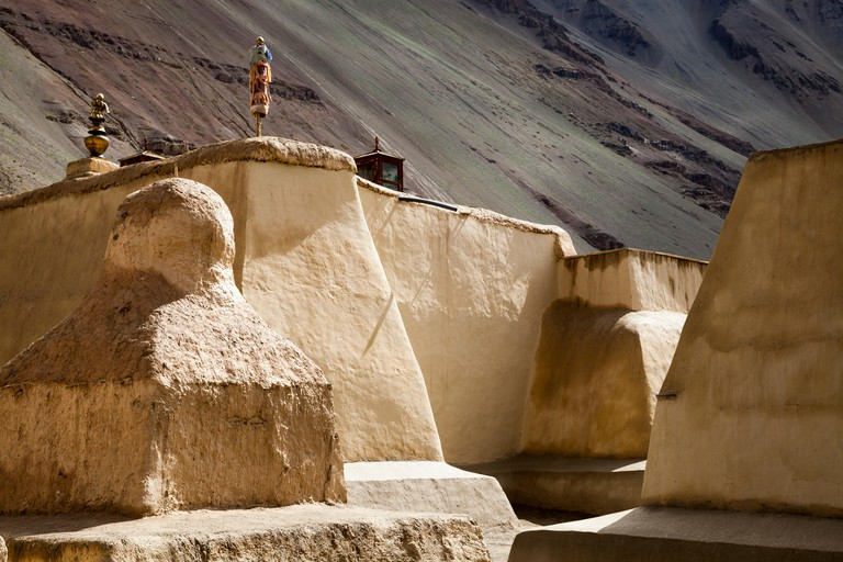 Buddhist mud built stupa in the ancient Tabo monastery, Northern India.
