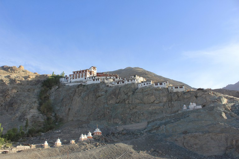 Diskit Gompa is the oldest and largest Buddhist monastery. Nubra Valley of Ladakh, India.