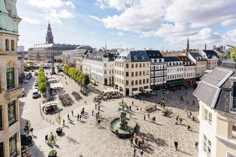 Copenhagen skyline and Amagertorv square