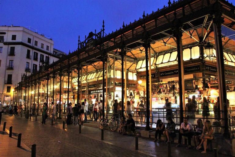 Mercado de San Miguel at night, Madrid, Spain.