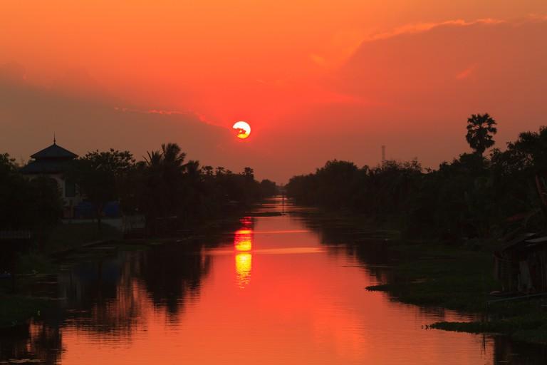Klong Mahasawat canal in sunset light