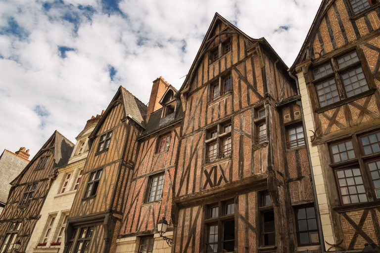 Picturesque half-timbered houses in Tours, France