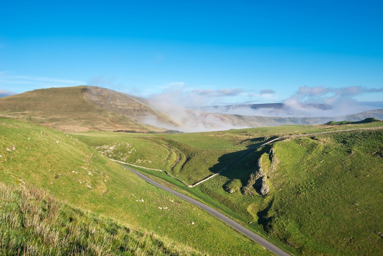 A sunny autumn morning at Winnats Pass in the Peak District.