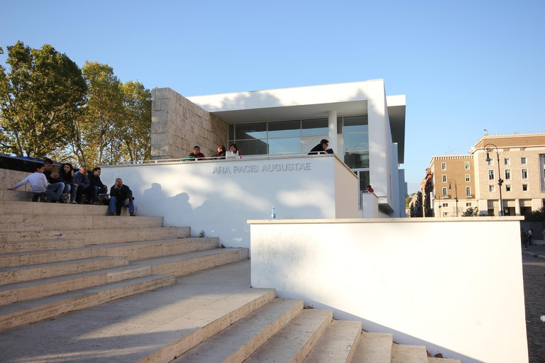 a beautiful shot of the outside building of the museum of the Ara Pacis, museo dell'Ara Pacis, Rome, Italy, Richard Meier