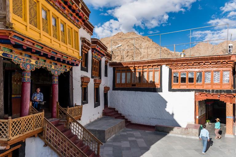 Tourists in Hemis monastery