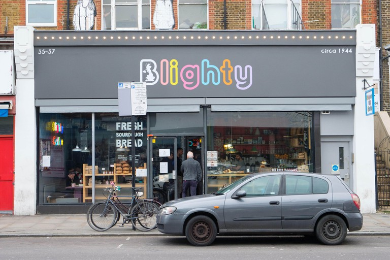 London, UK. 5th February, 2018. Winston Churchill themed Blighty Cafe in Finsbury Park has shot up in the TripAdvisor rankings as one of London's top-rated eateries. Last week a group of nine demonstrators stormed the Blighty UK cafe in Finsbury Park, nor
