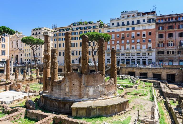 Roman ruins in the Largo di Torre Argentina, Rome, Italy