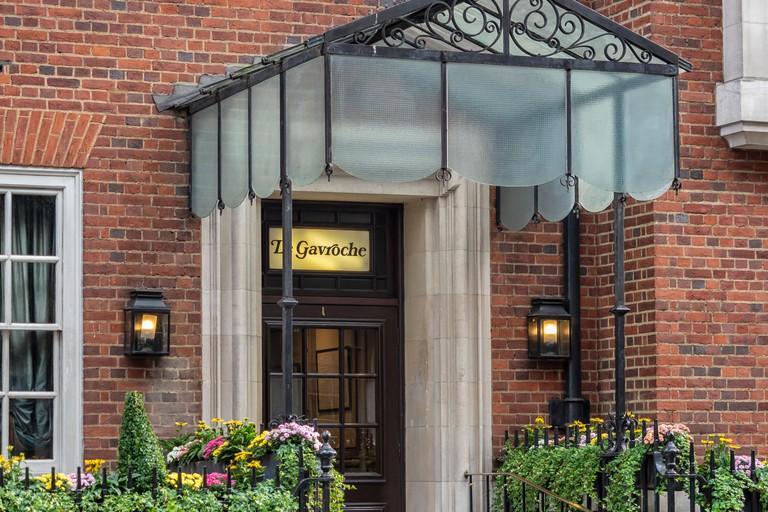 LONDON:  Entrance to Le Gavroche - Michel Roux Jr.'s famous fine-dining restaurant