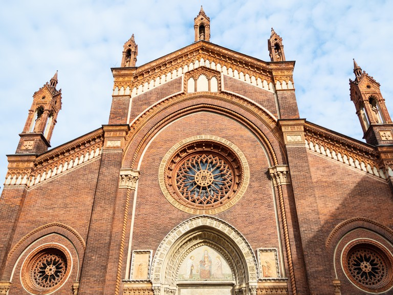 Travel to Italy - facade of church Chiesa di Santa Maria del Carmine in Brera district of Milan city, Lombardy