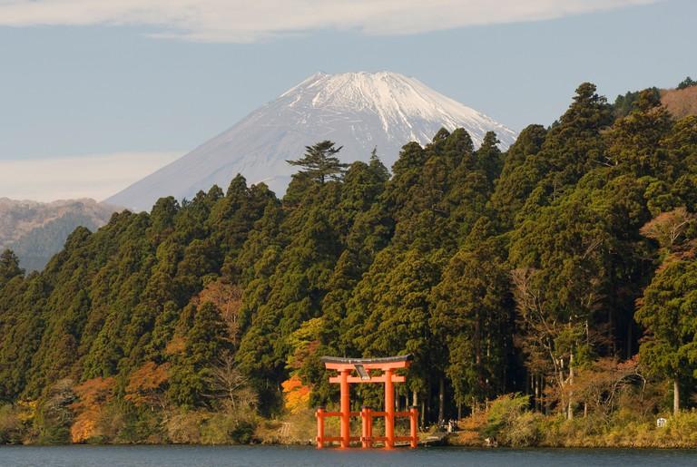 Hakone Shrine and Mount Fuji