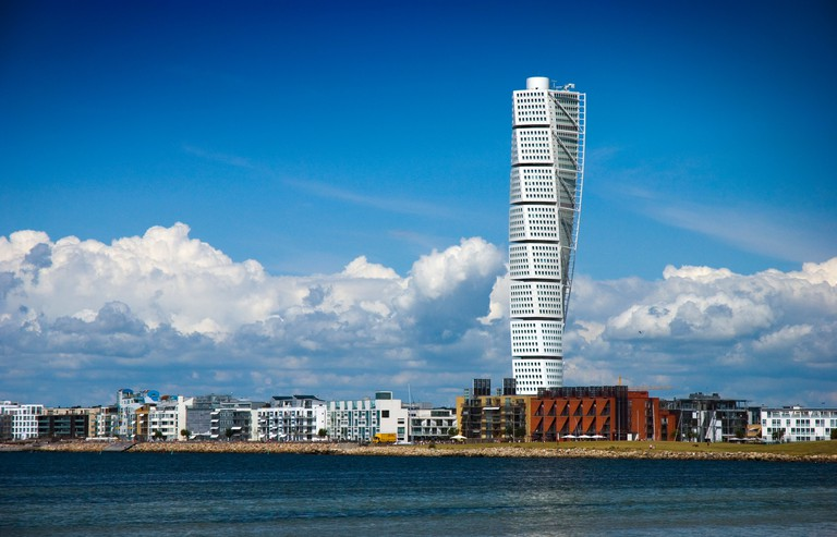 Turning Torso skyscraper in Malmo, Sweden, was opened in 2005. It is 190 meters (623 feet, 54 stories) tall.