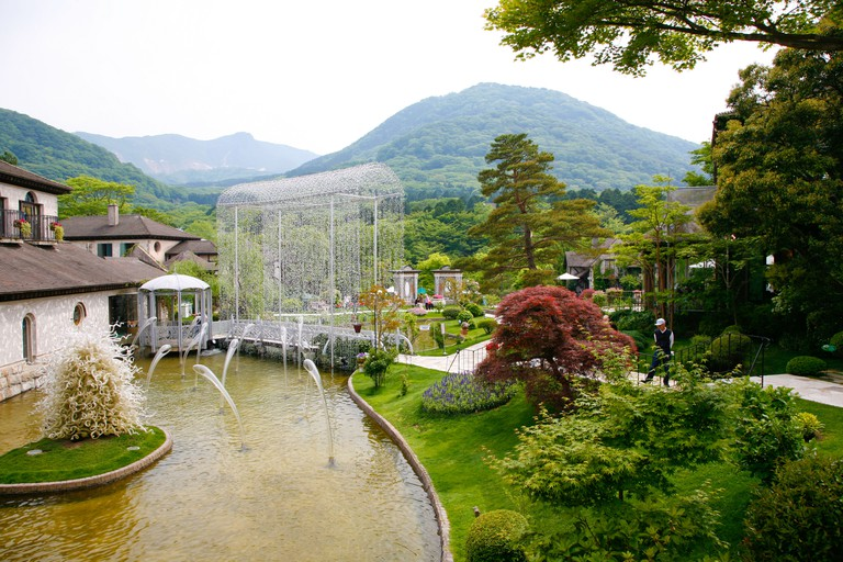 A wide angle view from the entrance of the Venetian glass Museum in Hakone, Japan.