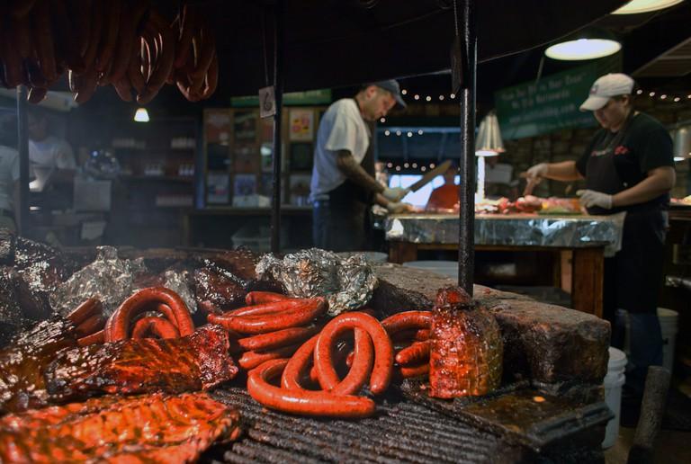 The Salt Lick BBQ pit - Ribs, sausage, and brisket