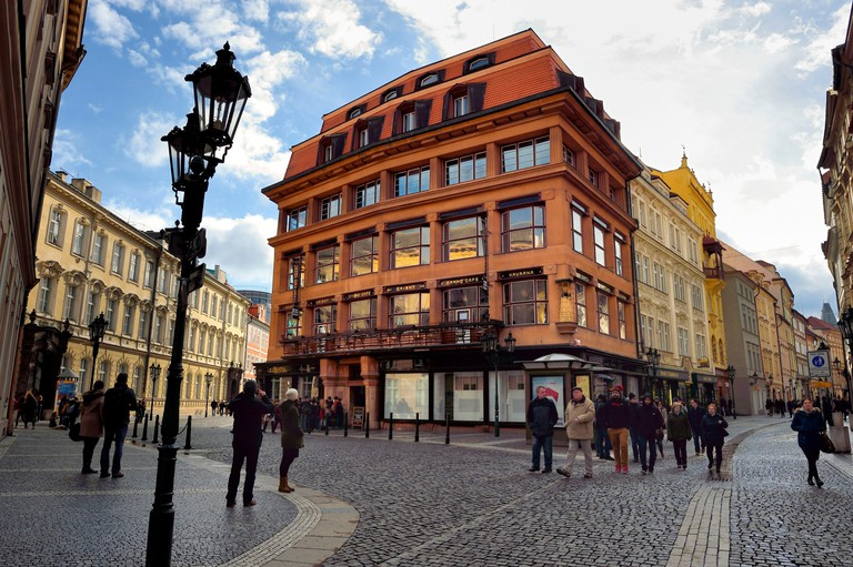 House of the Black Madonna cubist building by architect Josef Gocar on Ovocny square