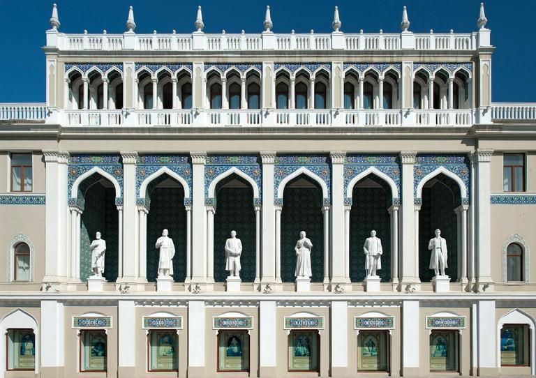 The Nizami Museum of Azerbaijan Literature in Baku. The statues are of famous Azeri writers.