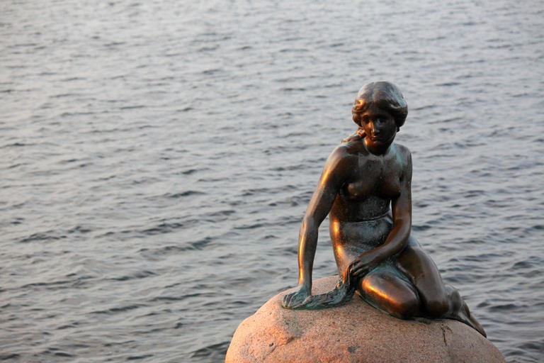 Statue of the Mermaid in Langelinie, Copenhagen, Denmark