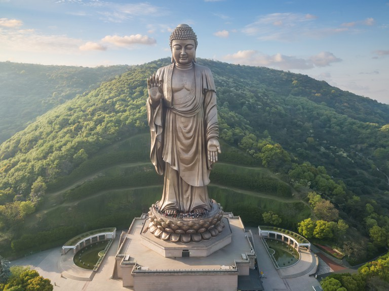 Aerial view of the Lingshan  buddhist  scenic spot, wuxi city, jiangsu province, China