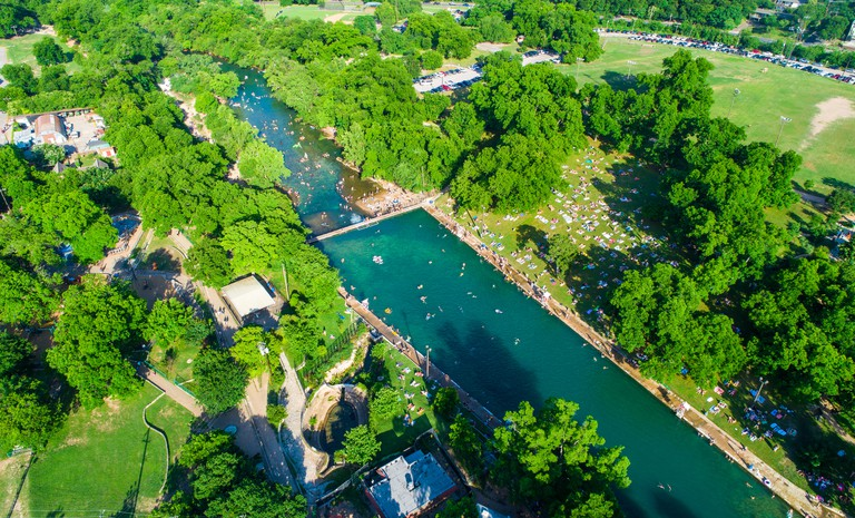 Austin Texas Barton Springs Barton Springs Pool a national landmark of refreshing summer relaxation